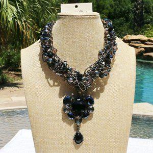 Boho Necklace Black Heart Statement Multi Strand